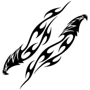 2x-Aigle-Tribal-Autocollant-Flammes-Autocollant-Voiture-Moto-Flamme-Noir-Aigle