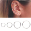 3Pairs-set-925-Sterling-Silver-Hinged-Small-Hoop-Circle-Ring-Earrings-Women-Men thumbnail 3