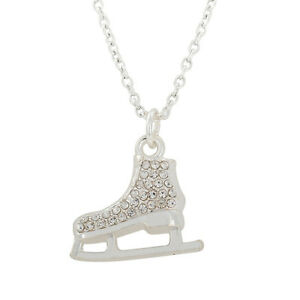3d ice skate figure skater crystal necklace rhinestone jewelry image is loading 3d ice skate figure skater crystal necklace rhinestone aloadofball Gallery
