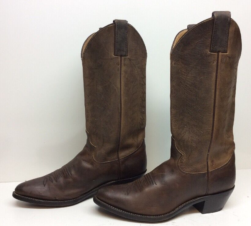 VTG Damenschuhe JUSTIN COWBOY LEATHER BROWN BOOTS SIZE 7.5 C
