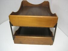 Vintage Wood Double Desk Tray Office Paper File Organizer Dovetailwalnut