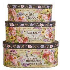 Set of 3 x Floral Decorative Storage Boxes – Photo Keepsake Gift Box Happy Home