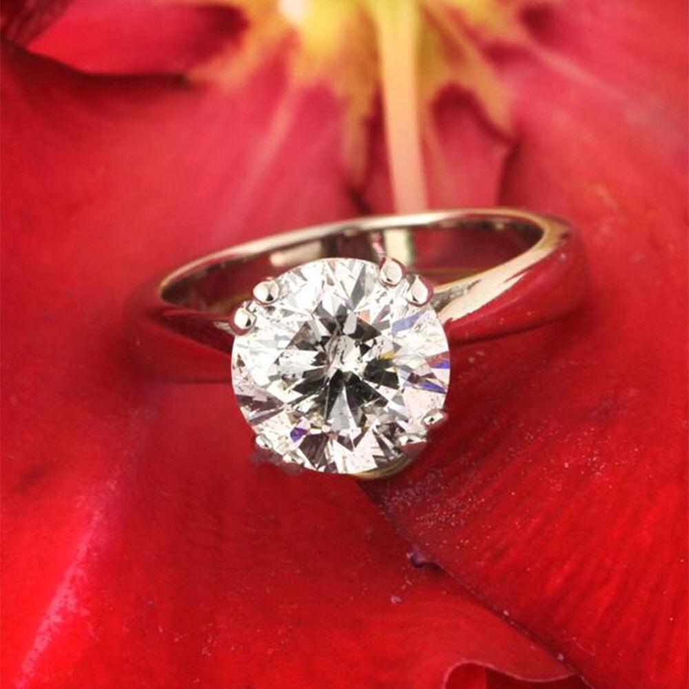 2.50 Ct Moissanite Diamond Solitaire Engagement Ring 14K White gold