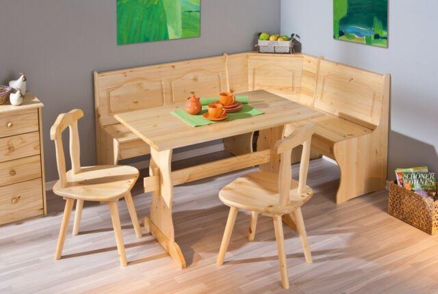 ECKBANKGRUPPE Kiefer massiv - farblos lackiert, Tisch,Eckbank,2 Stühle NEU & OVP