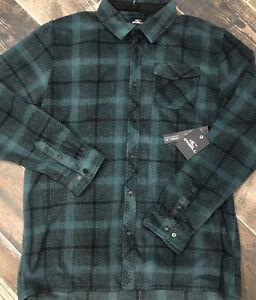 NEW $55 ONeill Superfleece Mens Green Black Plaid Snap Button XL