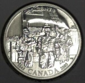 Canada-25-cents-2005-Liberation-60th-anniversary-end-WWII-3-500-minted-very-rare