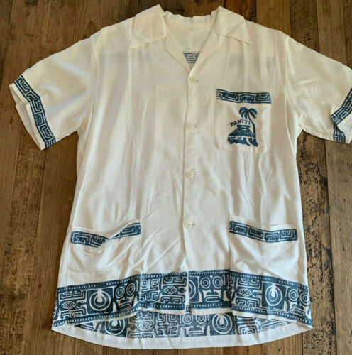 VTG 40's 50's TAHITI Block Print Blue White Hawaii