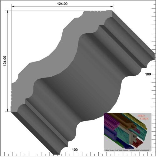 """Stuckleiste Stuckprofil Deckenprofil12,4cmx12,4cm 20 M+4 Ecken Dekor /""""Stavanger/"""""""