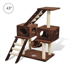"PawHut 42.8"" Cat Scratching Tree Bed Condo House Furniture Post Bed Toys"