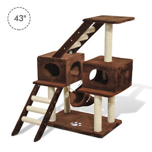 PawHut-42-8-034-Cat-Scratching-Tree-Bed-Condo-House-Furniture-Post-Bed-Toys
