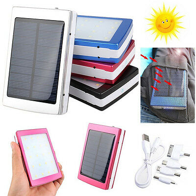 50000mAh Portable Solar Panel Dual USB External Battery Power Bank Pack Charger
