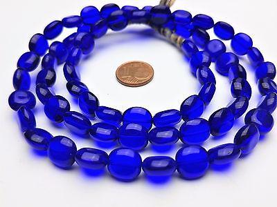 Strang 64 cm opak opal blaue facettierte böhmische Glasschliffperlen 8 mm
