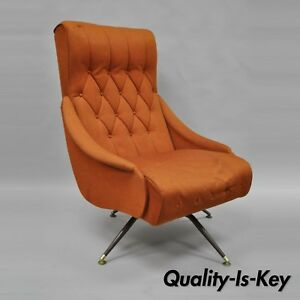 Cool Details About Vtg Mid Century Modern Mak Kraft Of Michigan Orange Fabric Swivel Lounge Chair Caraccident5 Cool Chair Designs And Ideas Caraccident5Info