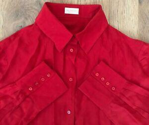 VALENTINO-rare-ladies-womens-red-monogram-silk-rayon-blouse-shirt-size-50-16