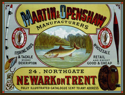 Martin /& Openshaw fishing rods tackle vintage style metal wall plaque sign