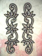 Black Beaded Crystal AB Aurora Borealis Rhinestone Appliques Mirror Pair (XR338)