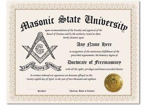 Masonic State University Freemason Personalized Diploma w//Gold Seal Novelty Gift