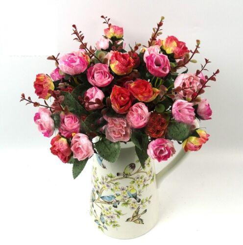 21 HEADS Bouquet Artificial Fake Plastic Rose Wedding Office Home Decor Flower 9