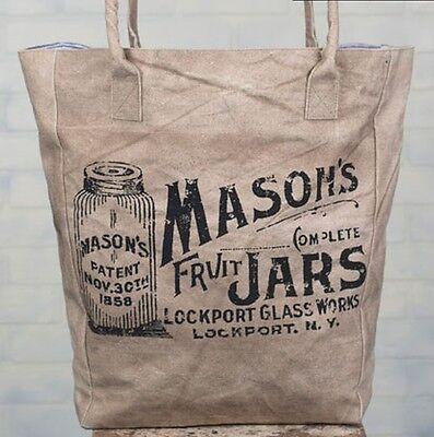 Handmade Lined Canvas Eco Friendly Reusable Market Bag - Old Mason Jar Theme