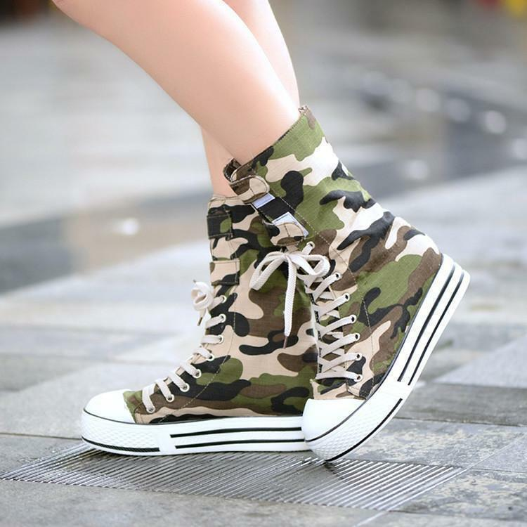 Ladies Canvas Camouflage Military Boots Lace Up Mid-Calf Boot Hip Hop shoes ADE