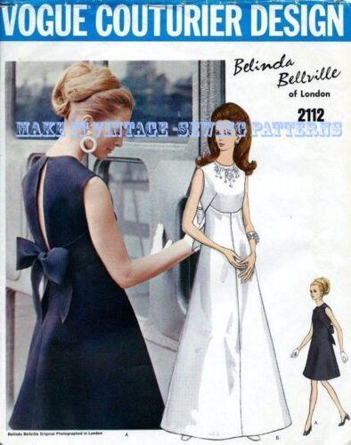 Vintage 60/'s Dress sewing pattern Vogue 2112 Bellville Evening Wedding Prom B38