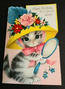 Vintage-Rust-Craft-Greeting-Card-Happy-Birthday-Aunt-Kitten-Cat-Glitter-Hat
