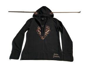 HARLEY DAVIDSON Women's Black Zip Up Pullover Hoodie Skull Graphic Jacket Small