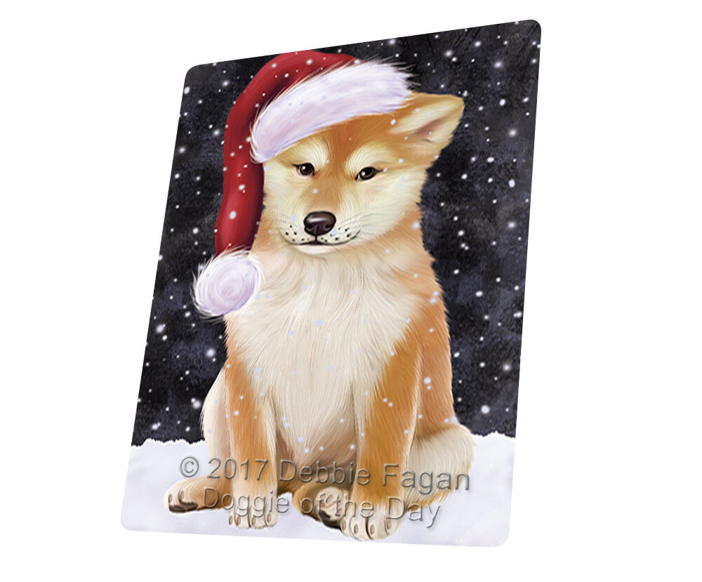 Let it Snow Christmas Holiday Shiba Inu Dog Woven Throw Sherpa Blanket T130