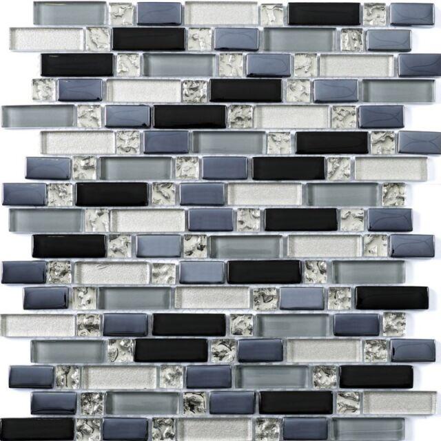 Cut down sample of ripple random glass mosaic tiles