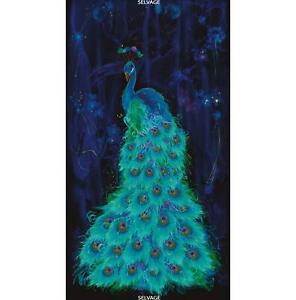 Timeless Treasures Moonlight Plume Peacock Panel 23 inches