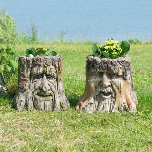 Decorative Tree Stump Face Planter Plant Flower Pot Garden Ornament Sculpture