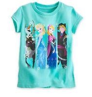 Disney Store Authentic Frozen Girls T Shirt Anna Elsa Sven Olaf Size 4 5/6 10/12
