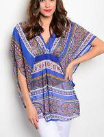 Western Boho Sheer Chiffon Cruise Beach Gypsy Tunic Kimono Shirt Cowgirl Small