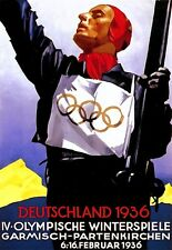 Poster Winter Olympics Skiing Deutschland Germany 1936