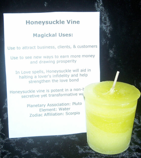 HONEYSUCKLE candle CRYSTAL JOURNEY Candles MONEY Business Stop Infidelity wicca