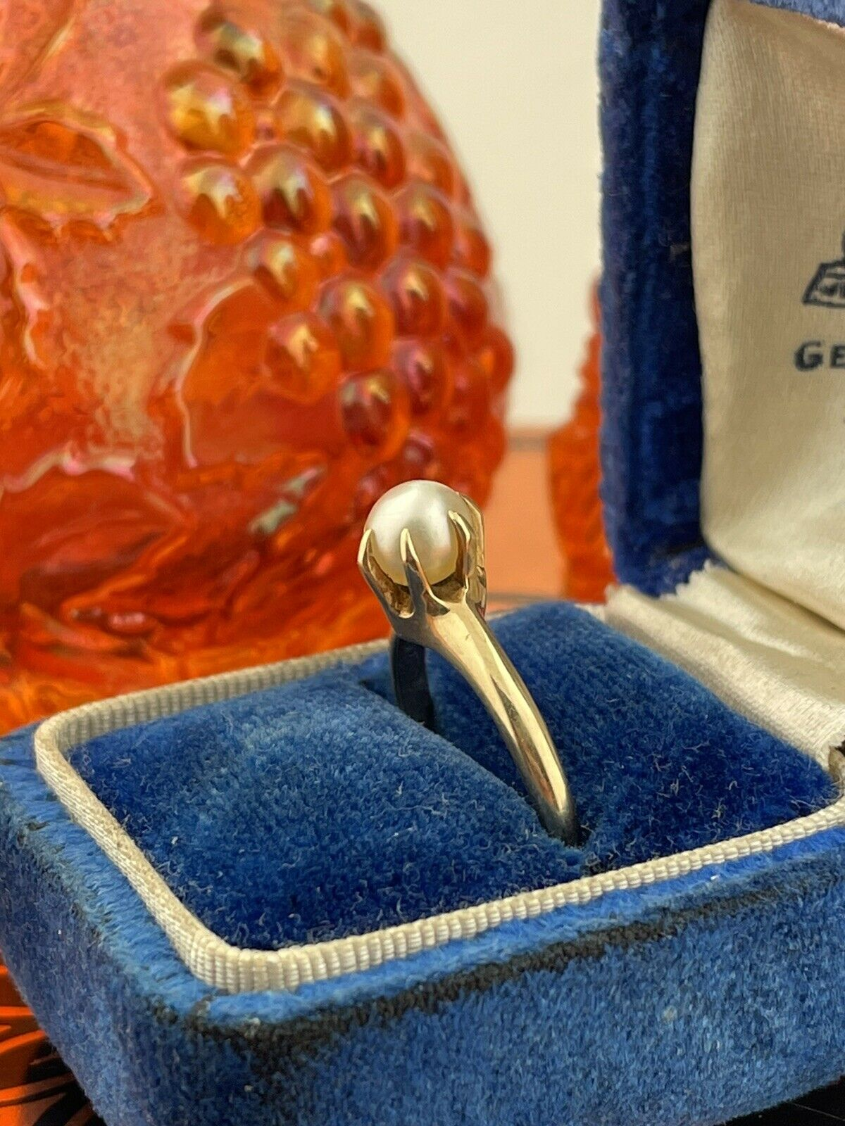 14k Solid Yellow Gold Solitaire Genuine Pearl ring - image 9
