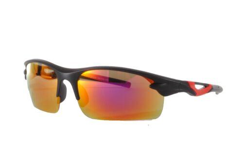 Ski Sport Sunglasses Black Red Multi Red Mirror Case Included SP01 Col 1