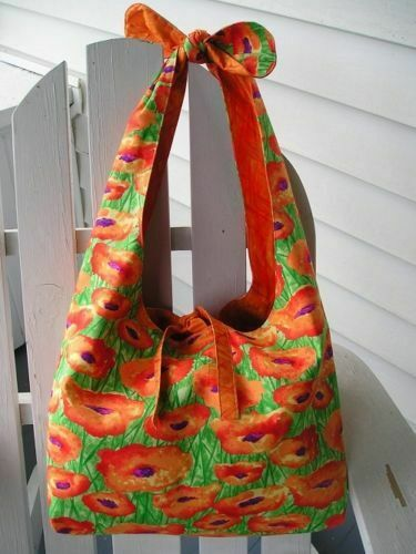 "Knotted Handle Tote Bag Pattern 17/"" x 24/"" Roomy Reversible Barbara Huber Designs"