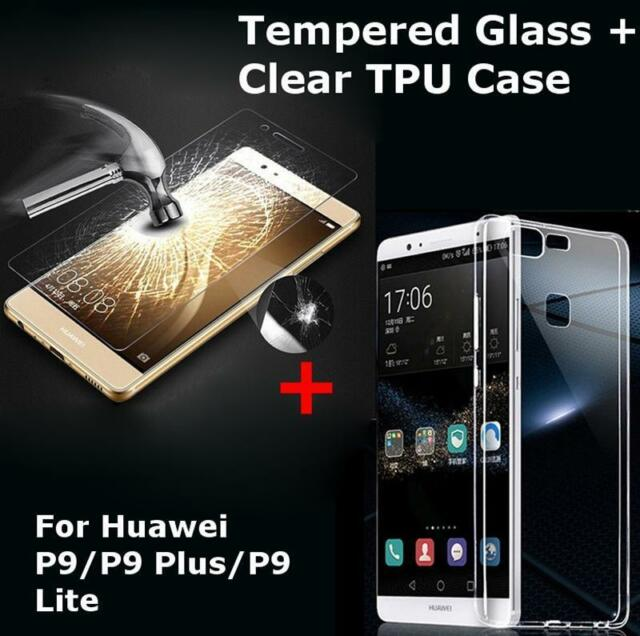 9H Tempered Glass + Ultra Thin Clear TPU Soft Back Case for Huawei P9 /Plus/Lite