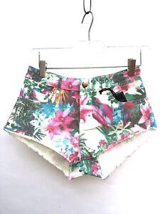 Zara-Floral-Jeans-Mini-Short-Taille-UK8-EUR36-US4