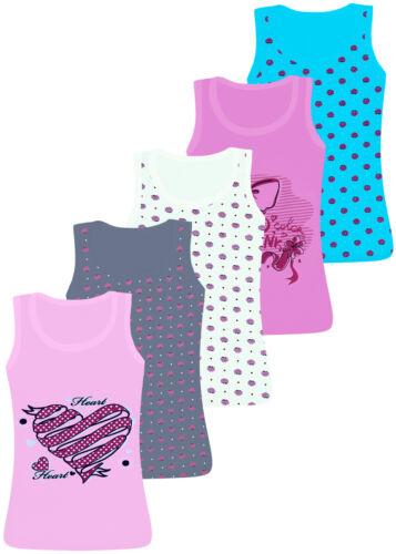 5 Mädchen Unterhemden Spagettiträger Tank Top Baumwolle Kinder Unterwäsche
