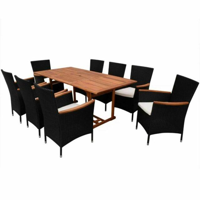 Vidaxl Outdoor Dining Set 17 Pieces Poly Rattan Wicker Black Seat Garden Table