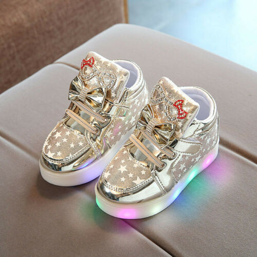 Toddler Baby Sneakers Star Luminous Child Casual Colorful Light Shoes Hook/&loop