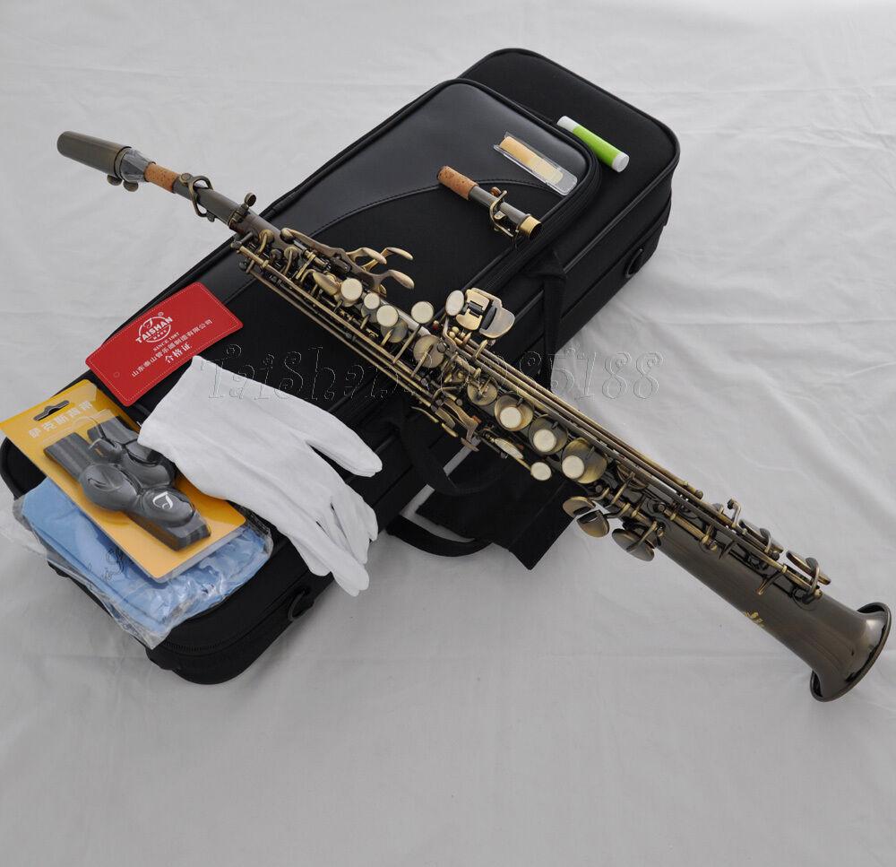 Prof. Taishan Negro Antiguo Bb Saxofón Soprano Sax grabado a a a mano italiano Pad a109c6