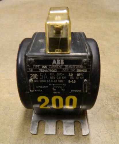 ABB TRANSFORMER 200:5A  60HZ NSV 10KV 10 KV Type CMS 7524A79G03