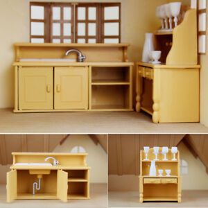 Details About Cabinets Plastic Kitchen Miniature Dollhouse Furniture Dining Set Room Kids Toy