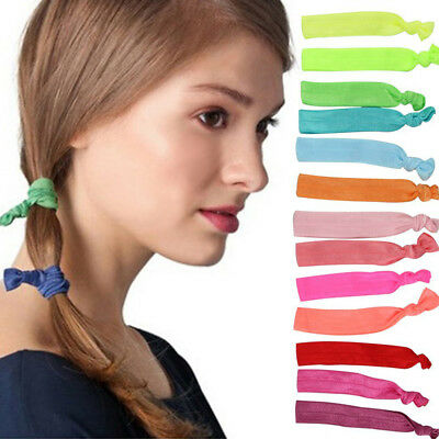6Pcs Elastic Hair Ties No Crease Ribbon Ponytail Holders Bows Twist Hair Bands