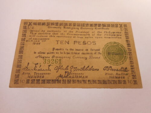 Philippines Emergency Currency Negros Occidental WWII Ten Pesos - Nice - # 39261