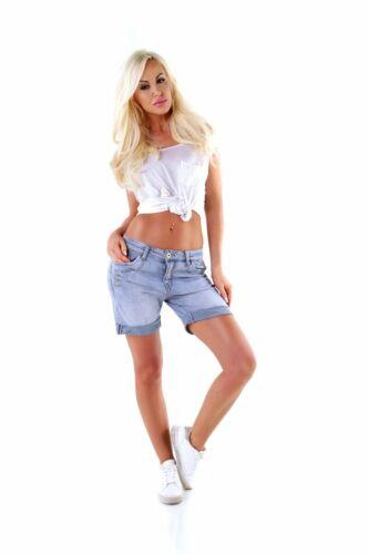 5619 trasparente donna jeans shorts pantaloni corti CULOTTE da Donna Bermuda Pantaloni lunghi cavallo basso boyfriend