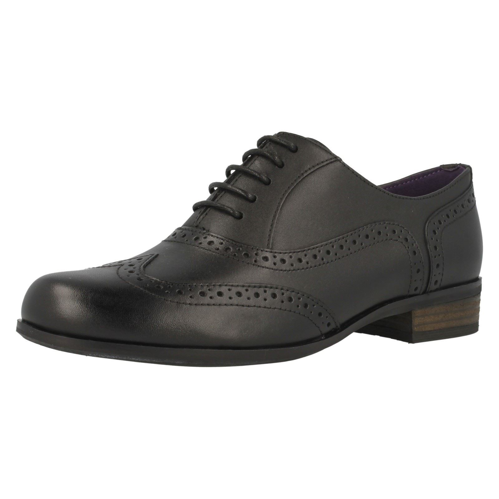 Clarks Hamble Oak Donna Nero Pelle Stringati Scarpe D Width Fitting
